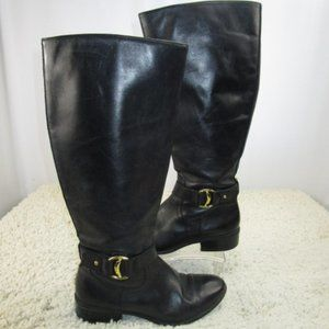 Black Gold Buckled Leather Boots By Lauren